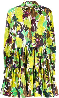 Valentino Monkeys Forest print poplin dress