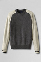 Classic Men's Slim Fit Lambswool Colorblock Crewneck Sweater Navy Donegal