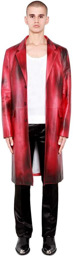 Calvin Klein Painted Shiny Leather Tailored Coat
