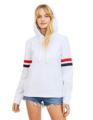 Women's Ultra Soft Fleece Stripe on Sleeves Varsity Solid Pullover Hoodie Sweatshirt