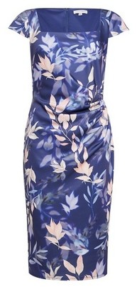 Dorothy Perkins Womens Lily & Franc Navy Floral Print Square Neck Bodycon Dress