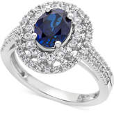 Macy's Lab-Created Blue Sapphire (1-3/4 ct. t.w.) & White Sapphire (1/2 ct. t.w.) Ring in Sterling Silver