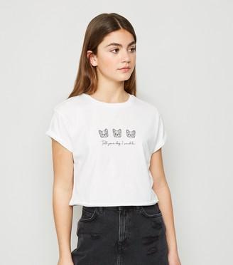 New Look Girls Dog Slogan T-Shirt