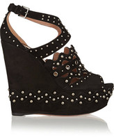 Alaia Studded Suede Wedge Sandals