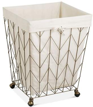 Honey-Can-Do Coastal Collection Chevron Rolling Hamper with Wheels, Bronze
