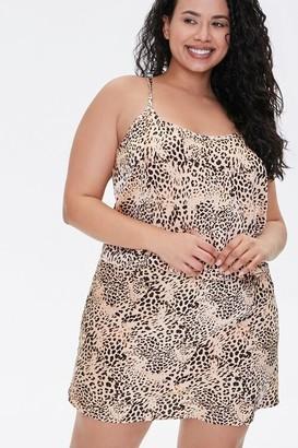 Forever 21 Plus Size Satin Animal Print Mini Skirt