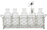Creative Co-Op Wire Holder with 5 Glass Vases