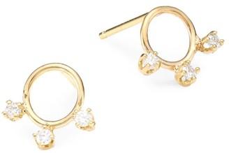 Zoë Chicco 14K Yellow Gold & Diamond Circle Stud Earrings