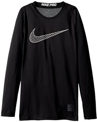 Nike Kids Pro Fitted Long Sleeve Training Top (Little Kids/Big Kids) (Black/White) Boy's Clothing