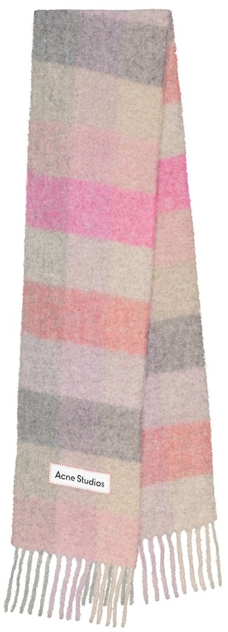 Acne Studios Checked alpaca hair and wool-blend scarf