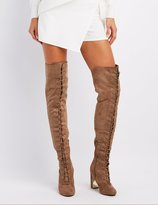 Charlotte Russe Gold-Trim Lace-Up Over-The-Knee Boots