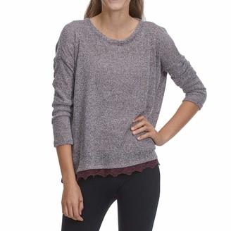 Taylor & Sage Women's Marled Knit Twist Lace Hem Top