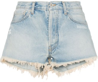 Off-White Raw Hem Front Logo Denim Shorts