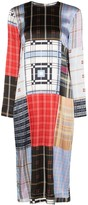 Ganni Check Print Patchwork Midi Dress