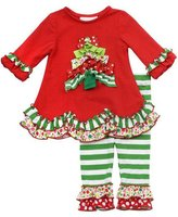 Rare Editions Girls Christmas Outfit - Ruffle Tree Ribbon Christmas Tree Tunic Size ( with Bracelet for Mom)