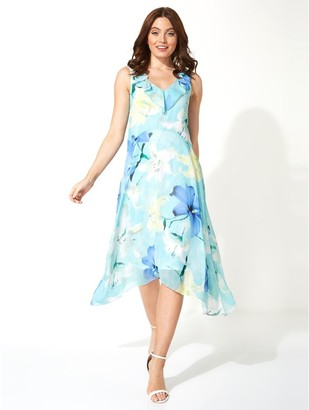 M&Co Roman Originals floral chiffon frill midi dress