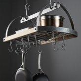 Crate & Barrel Enclume ® Hammered Steel/Wood Oval Ceiling Pot Rack