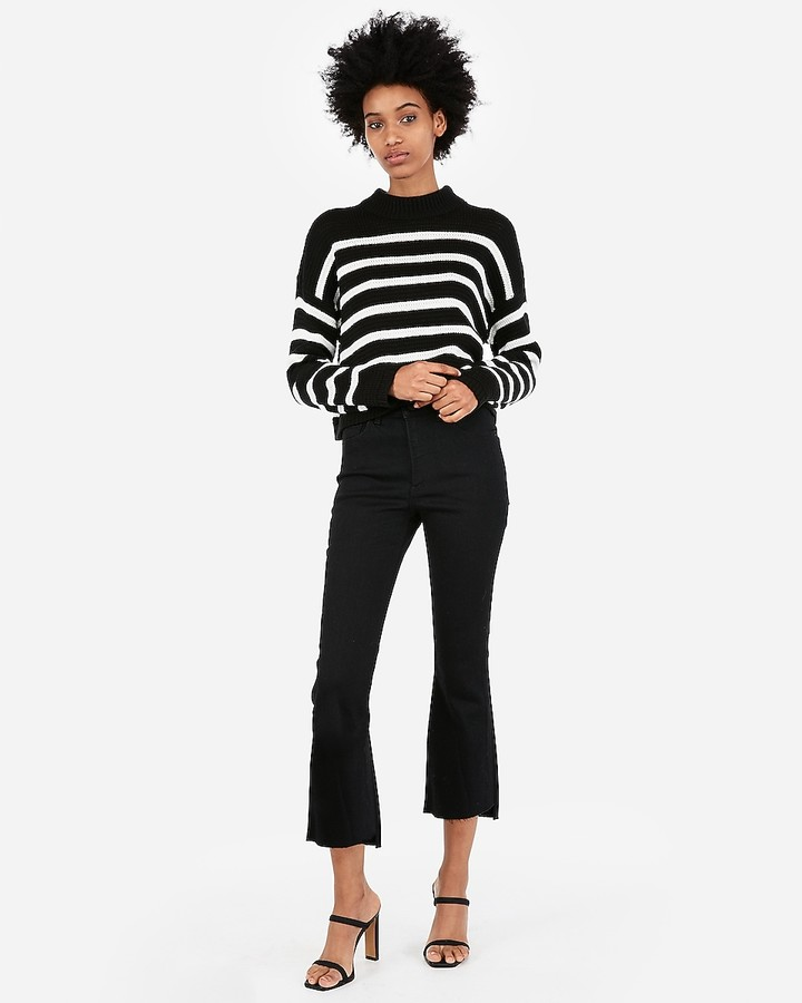 Express Striped Mock Neck Pullover Sweater