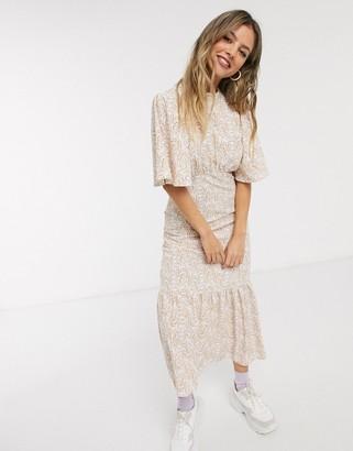 Miss Selfridge open back paisley midi dress in pale pink print