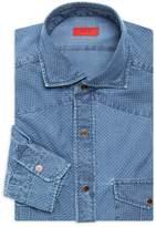Isaia Pindot Denim Western Dress Shirt