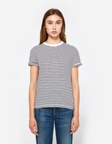 Alexander Wang S/S Crewneck Tee in White with Navy Stripe