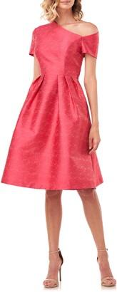 Kay Unger Asymmetrical Neck Satin Jacquard Cocktail Dress