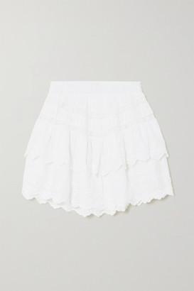 LoveShackFancy Emilia Crochet-trimmed Tiered Embroidered Cotton-voile Mini Skirt - White