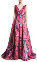 Monique Lhuillier Garden Floral Sleeveless Ball Gown, Pink