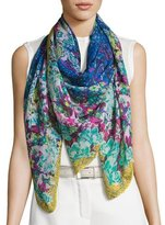 Etro Floral Cashmere & Silk Square Scarf, Blue