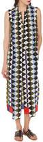 Akris Sleeveless Diamond-Print Silk Crepe A-Line Dress with Neck-Scarf