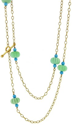 Cathy Waterman Chrysoprase and Turquoise Flower Necklace - Yellow Gold