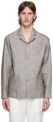 Ermenegildo Zegna Grey Linen Overshirt Jacket