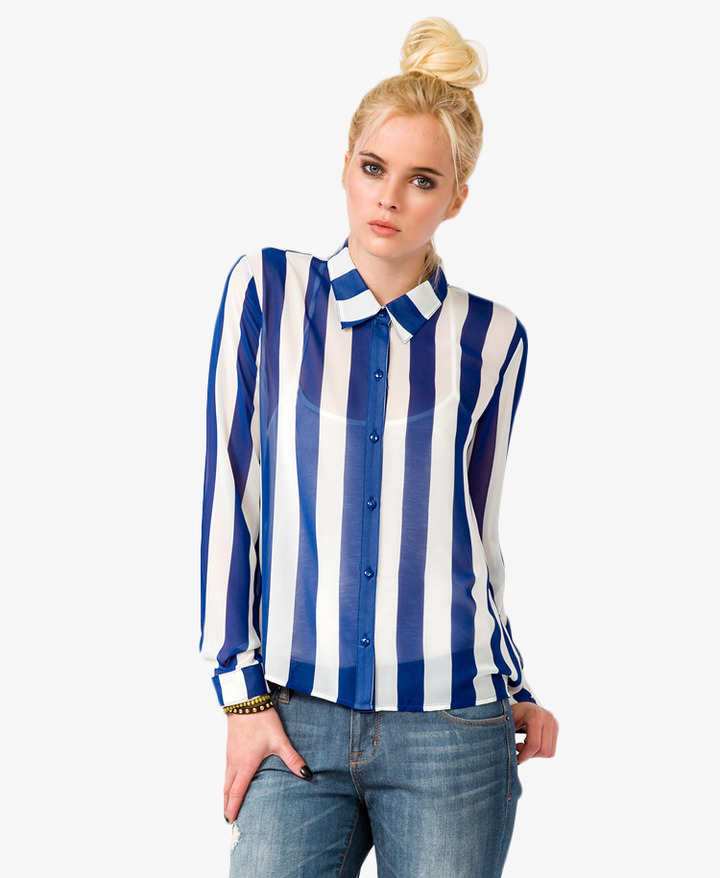 Forever 21 Striped High-Low Shirt