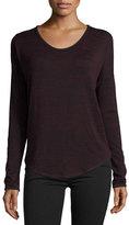 Rag & Bone Hudson Heathered Long-Sleeve T-Shirt, Port/Black Multi