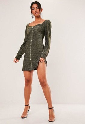 Missguided Gold Sparkle Milkmaid Button Through Dress