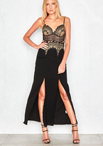 Missy Empire Elodie Black and Gold Lace Detail Maxi Dress