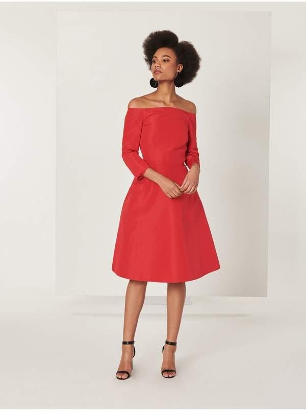 Oscar de la Renta Silk-Faille Cocktail Dress