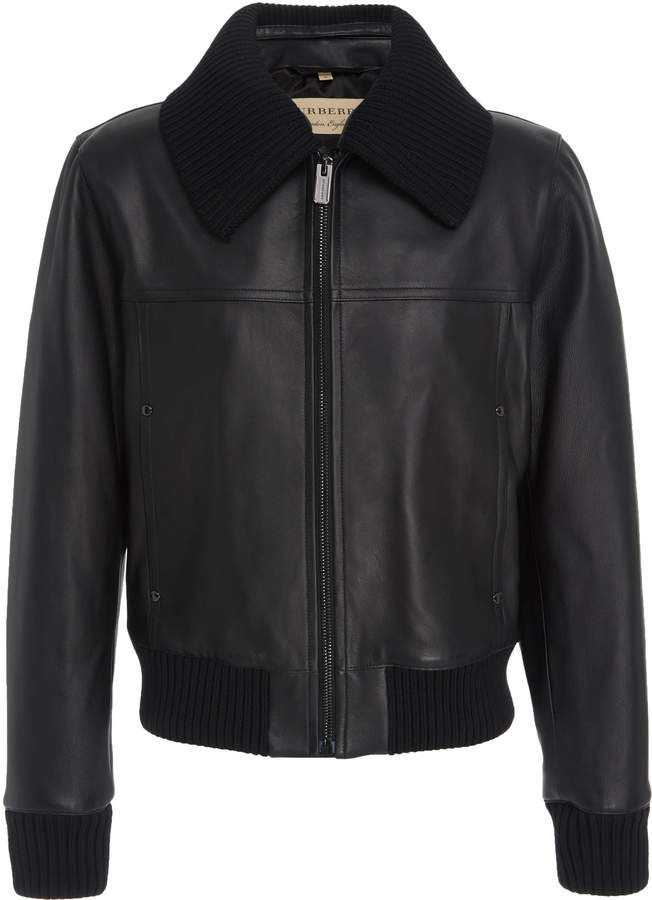 Burberry Rib-Trimmed Leather Bomber Jacket