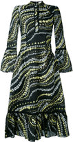 Erdem embroidered ruffled hem dress - women - Silk/Polyamide/Polyester - 8