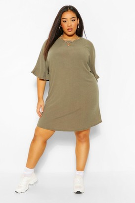 boohoo Plus Ruffle Sleeve Soft Rib T-Shirt Dress