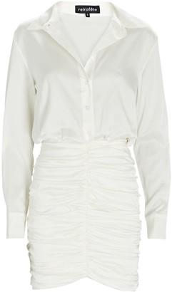 retrofete Natalia Ruched Satin Shirt Dress