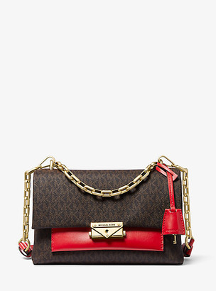 Michael Kors Cece Medium Logo and Leather Shoulder Bag