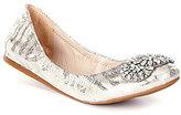 Antonio Melani Petah Metallic Leather Jeweled Slip-On Flats