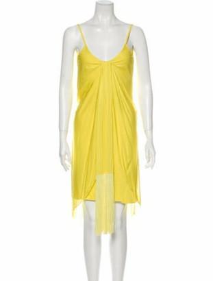 Versace Scoop Neck Knee-Length Dress Yellow