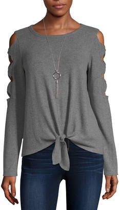 Byer California-Juniors Womens Round Neck Long Sleeve Pullover Sweater