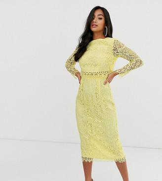 Asos DESIGN Petite lace long sleeve midi pencil dress