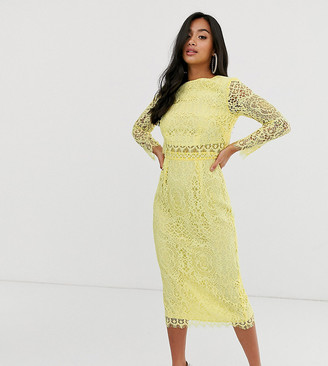 Asos DESIGN Petite lace long sleeve midi pencil dress