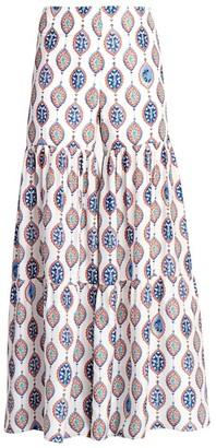 Chloé Ceramic-Print Silk Habotai Flare Trousers