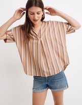 Madewell Courier Button-Back Shirt in Rainbow Stripe