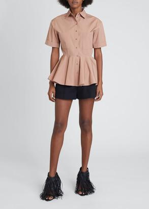 Alaia Button-Down Peplum Top